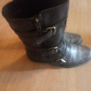 JCREW MOTORCYCLE COMBAT BOOTS WOMENS BLACK LEATHER